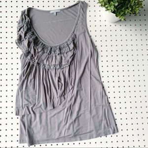 CHARLOTTE RUSSE ruffle lace gray tank top large
